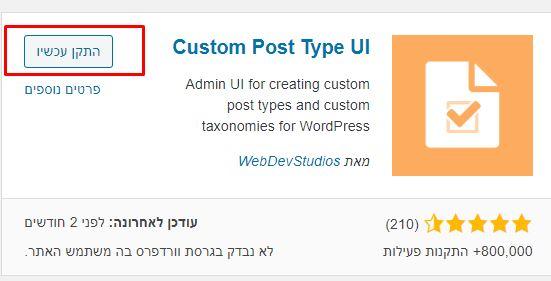 סוגי פוסטים custom post type
