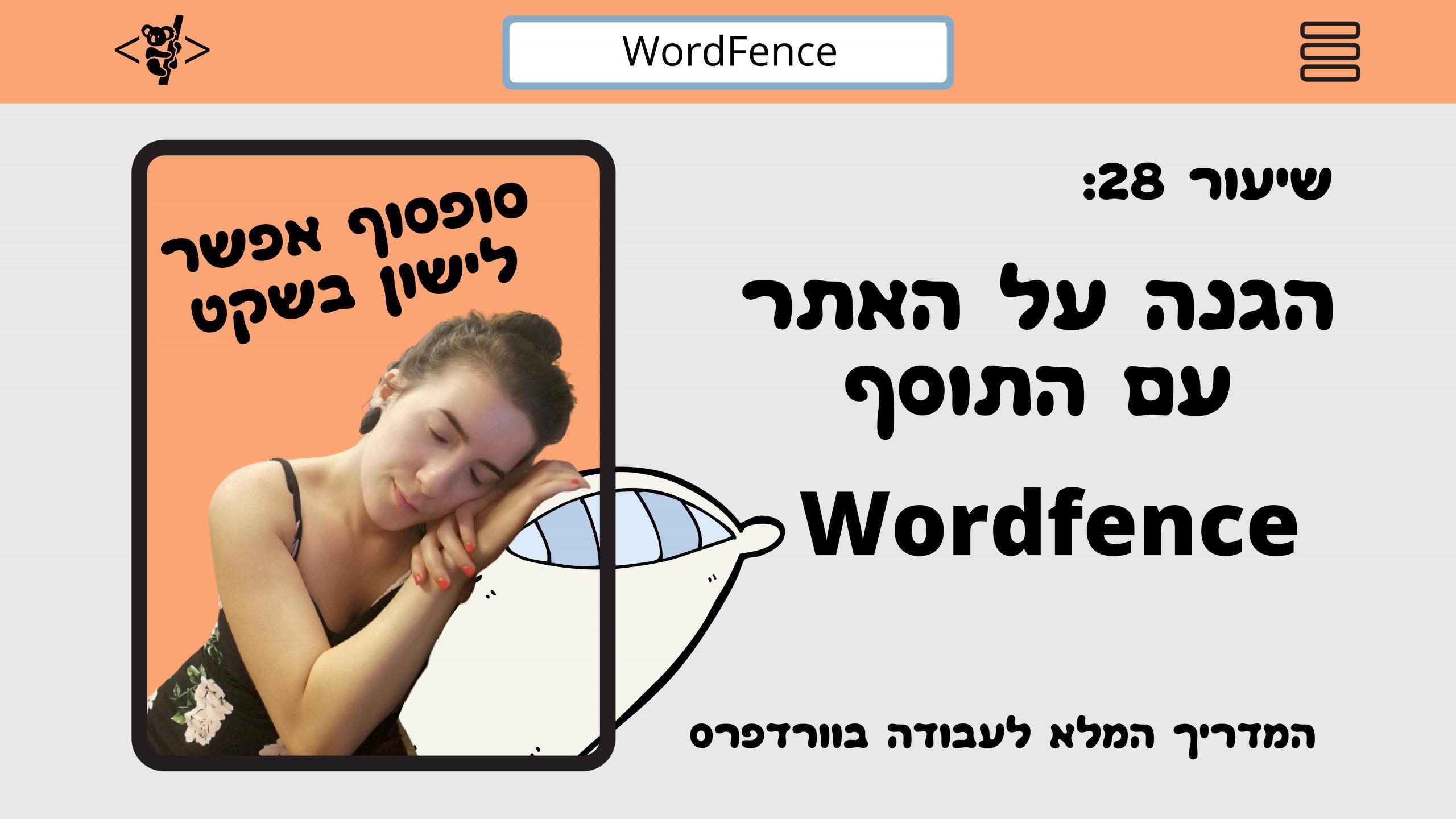 WordFence, שיר ויצמן, הגנת אתר, איך לאבטח את האתר